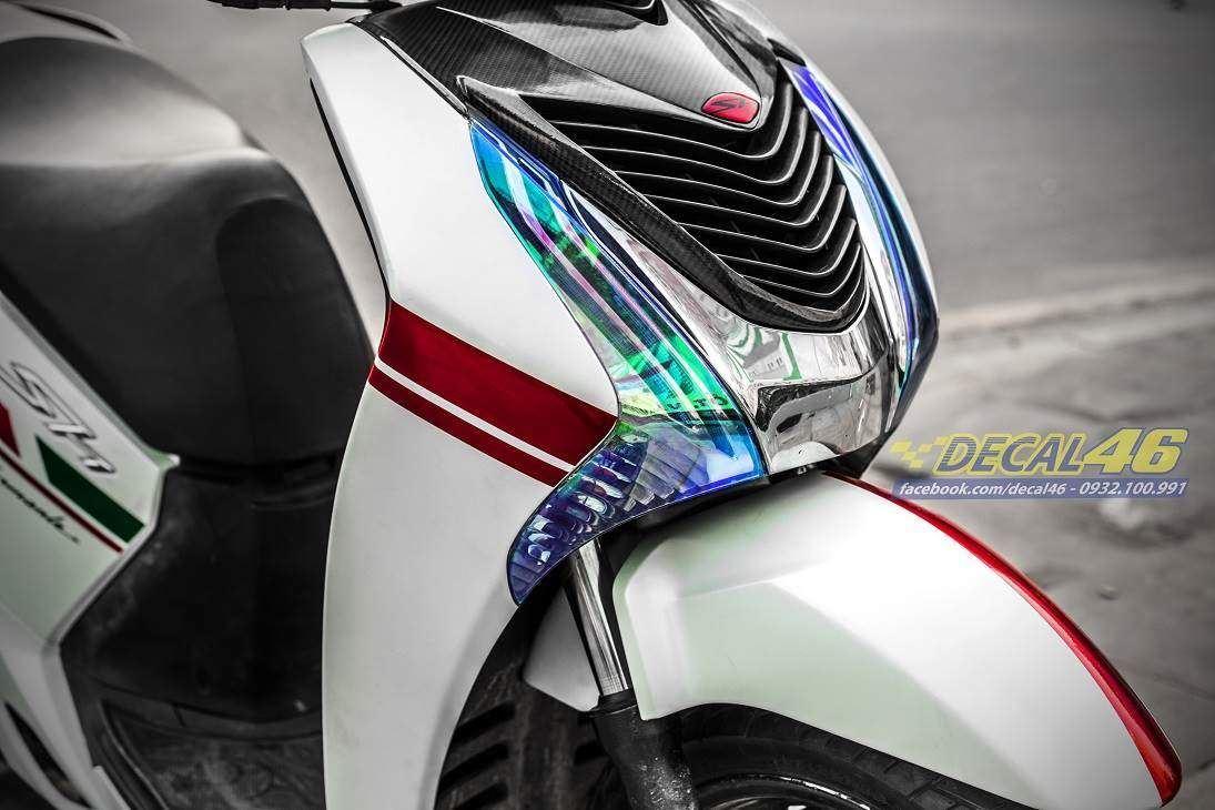 Tem xe Honda SH 150 Italia - Tem xe thiết kế trắng ngọc trai viền đỏ