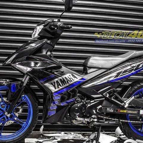 Tem xe Exciter 150 – 427 – Tem xe thiết kế Yamaha chrome xanh đen