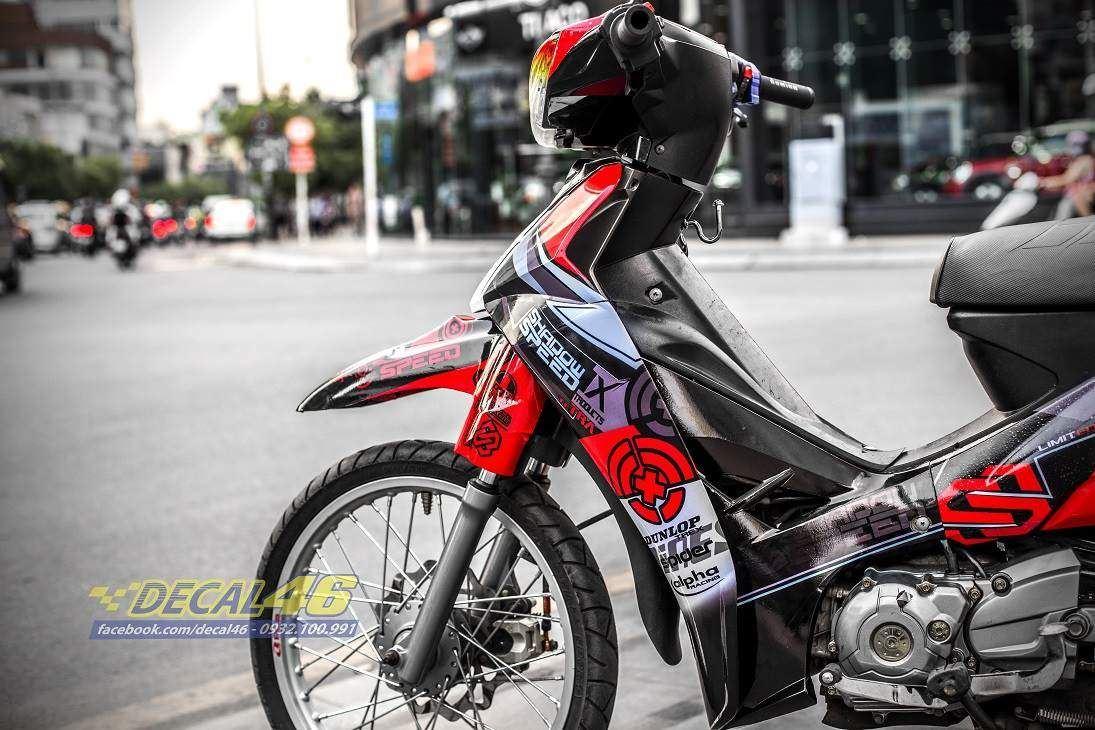 Tem xe Yamaha Sirius - 222 - Tem xe thiết kế Speed Shadow candy đỏ đen