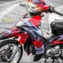 Tem xe Yamaha Sirius – 222 – Tem xe thiết kế Speed Shadow candy đỏ đen
