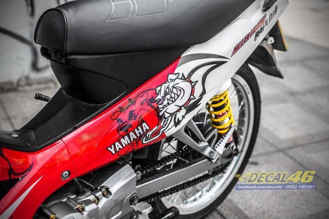 Tem xe Yamaha Sirius - 217 - Tem xe thiết kế Bulldog candy trắng đỏ