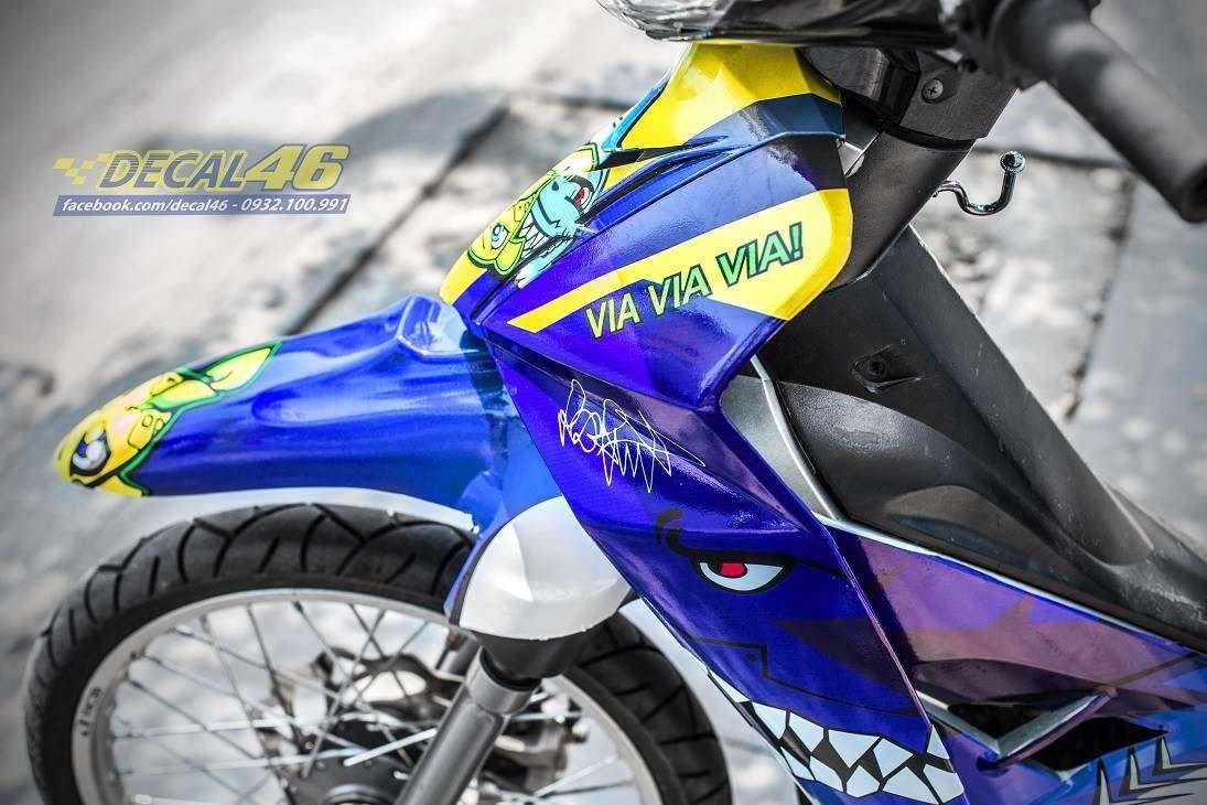 Tem xe Yamaha Sirius - 218 - Tem xe thiết kế Cá mập candy xanh