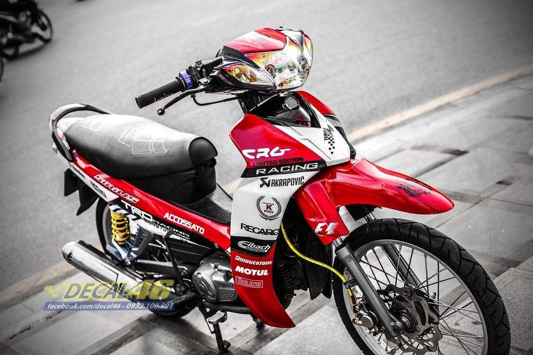 Tem xe Yamaha Sirius - 219 - Tem xe thiết kế Kpak candy trắng đỏ