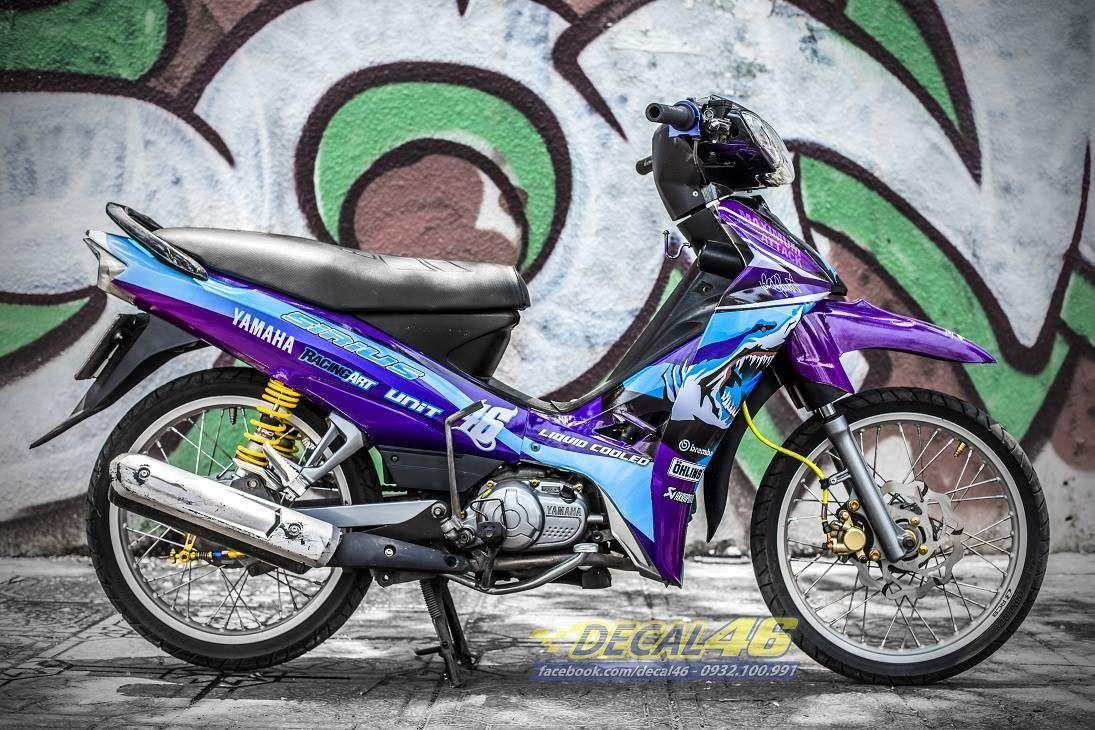 Tem xe Yamaha Sirius - 221 - Tem xe thiết kế Shark candy xanh tím
