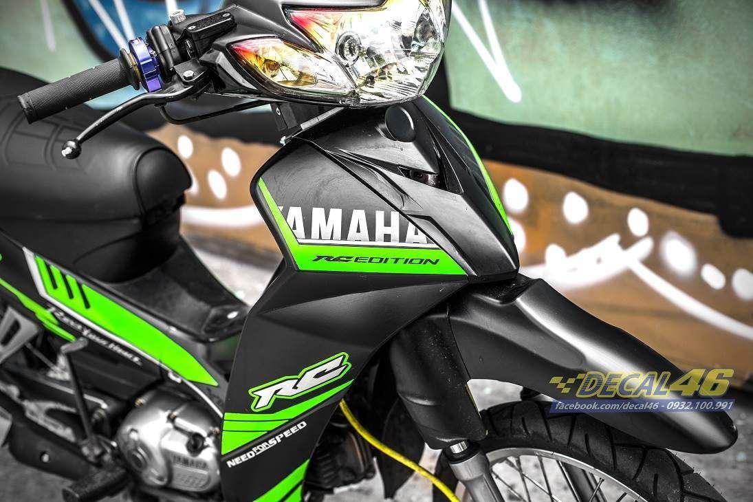 Tem xe Yamaha Sirius - 223 - Tem xe thiết kế RC nhôm xanh mino