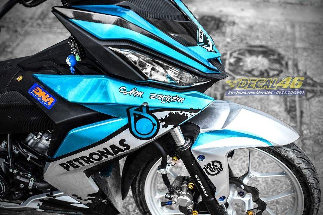 Tem xe Winner 150 - 302 - Tem xe thiết kế Petronas candy xanh trắng
