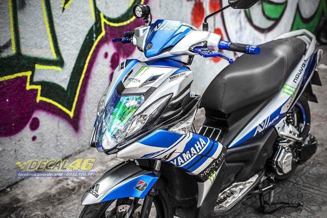 Tem xe Yamaha Nouvo - Tem xe thiết kế M1 nhôm xanh bạc