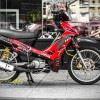 Tem xe Yamaha Sirius - 224 - Tem xe thiết kế Sting candy đỏ đen