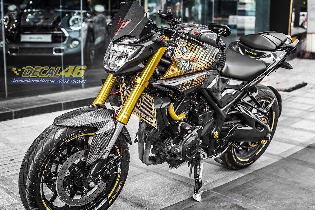 Tem xe PKL - Tem xe MT-03 thiết kế Chrome vàng đen