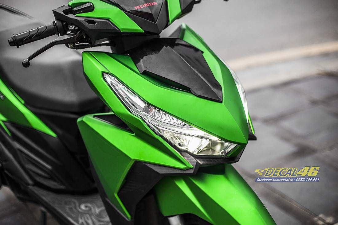 Tem xe Honda Click - 031 - Tem xe thiết kế Xanh Kawa nhôm