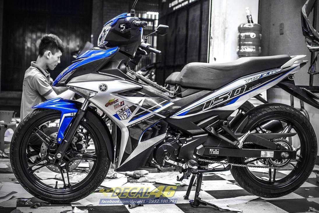 Tem xe Exciter 150 – 434 – Tem xe thiết kế zin Malay candy xanh bạc
