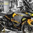 Tem xe PKL – Ninja 400 thiết kế Vàng bạc đen zin