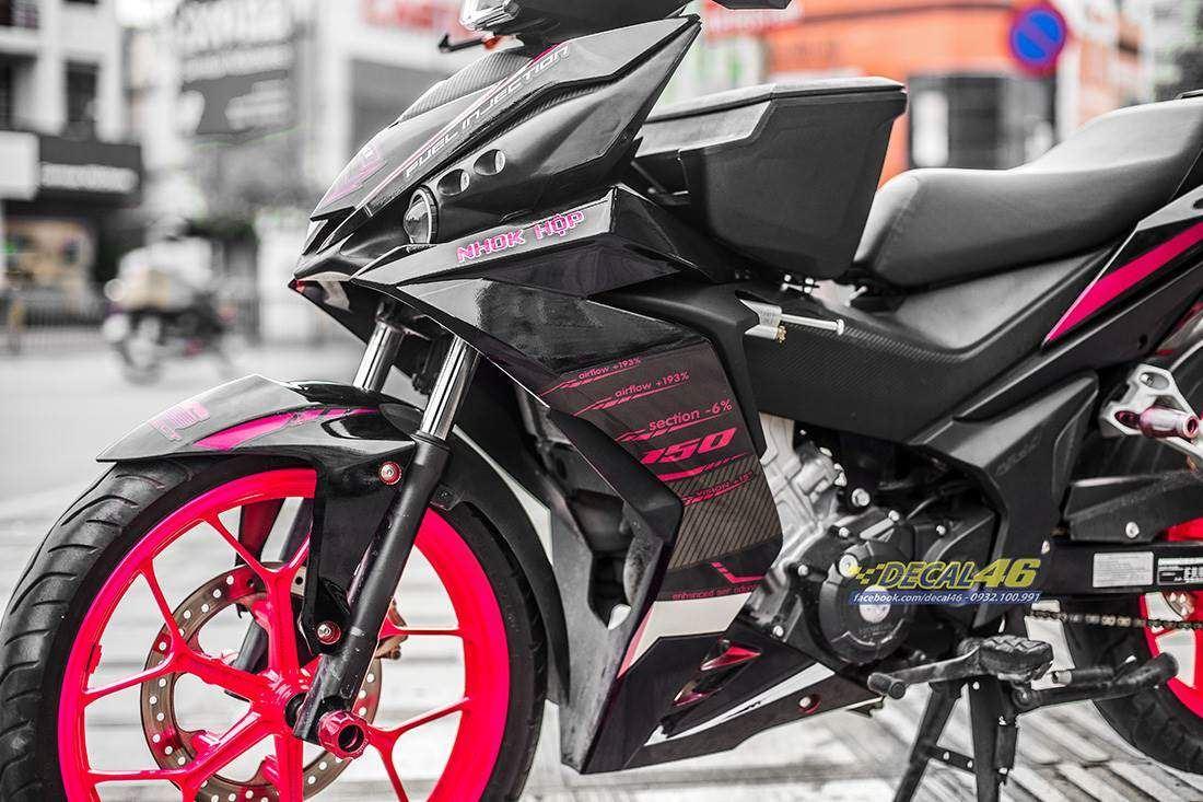 Tem xe Winner 150 - 320 - Tem xe thiết kế AGV candy đen đỏ