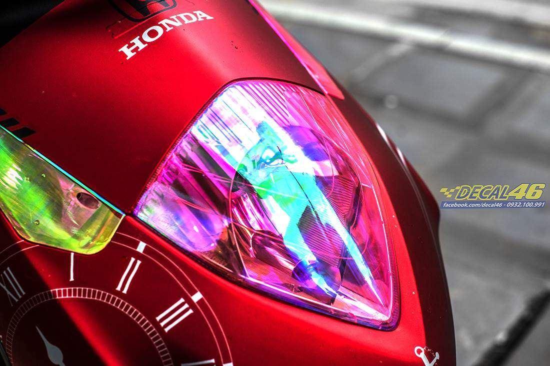 Tem xe Honda Dylan - 004 - Tem xe thiết kế Clock đỏ nhôm