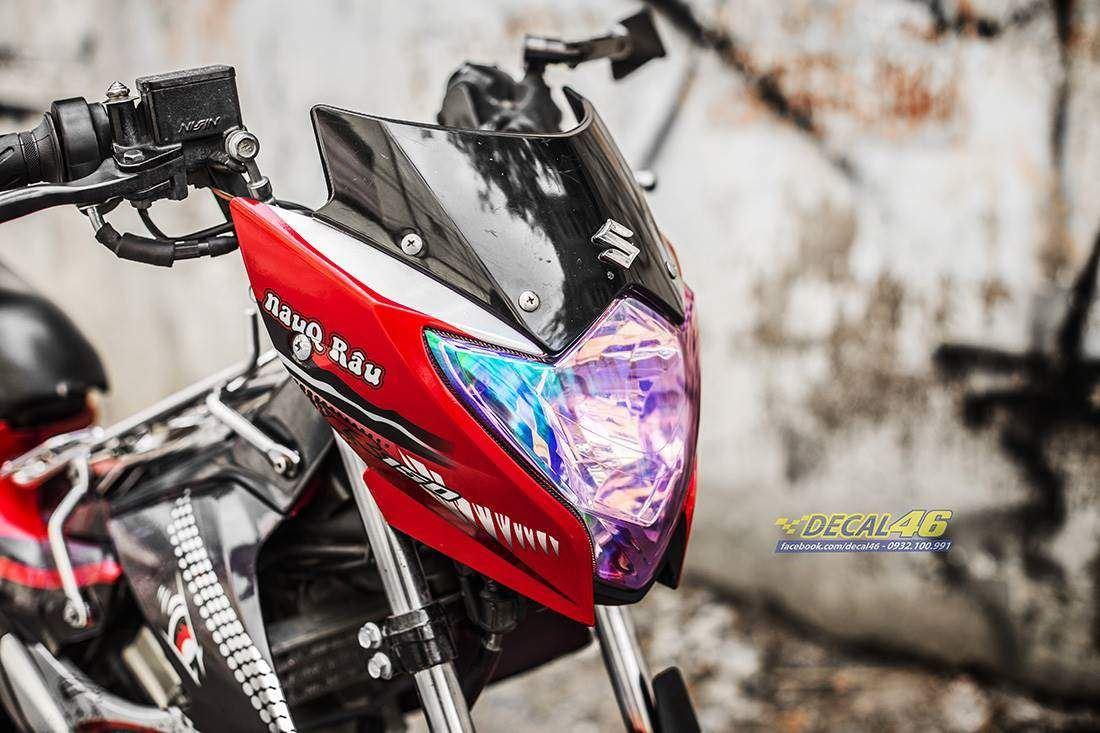 Tem xe Raider 150 - 042 - Tem xe thiết kế R150 Đại bàng candy đỏ đen