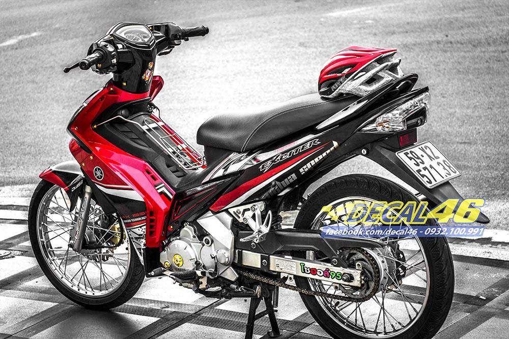 Tem xe Exciter 2009 - 2010 - Tem xe thiết kế đỏ đen candy