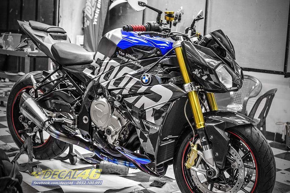 Tem xe PKL - Tem xe BMW S1000R thiết kế Xanh đen