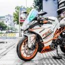 Tem xe KTM – RC – Tem xe thiết kế Trắng ngọc trai cam