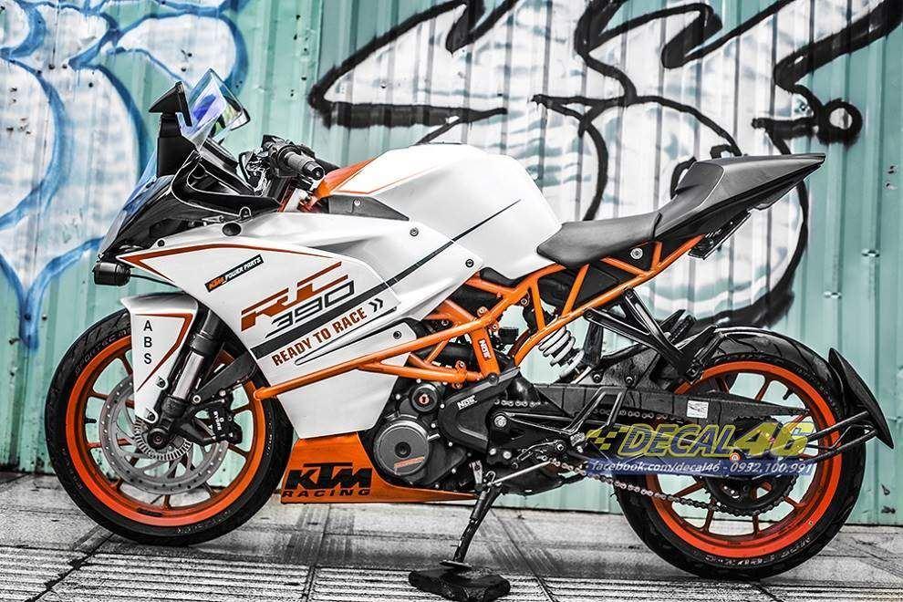 Tem xe KTM - RC - Tem xe thiết kế Trắng ngọc trai cam