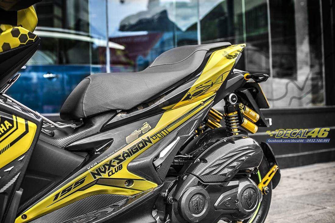 Tem xe NVX - 42 - Tem xe thiết kế Razer candy vàng đen