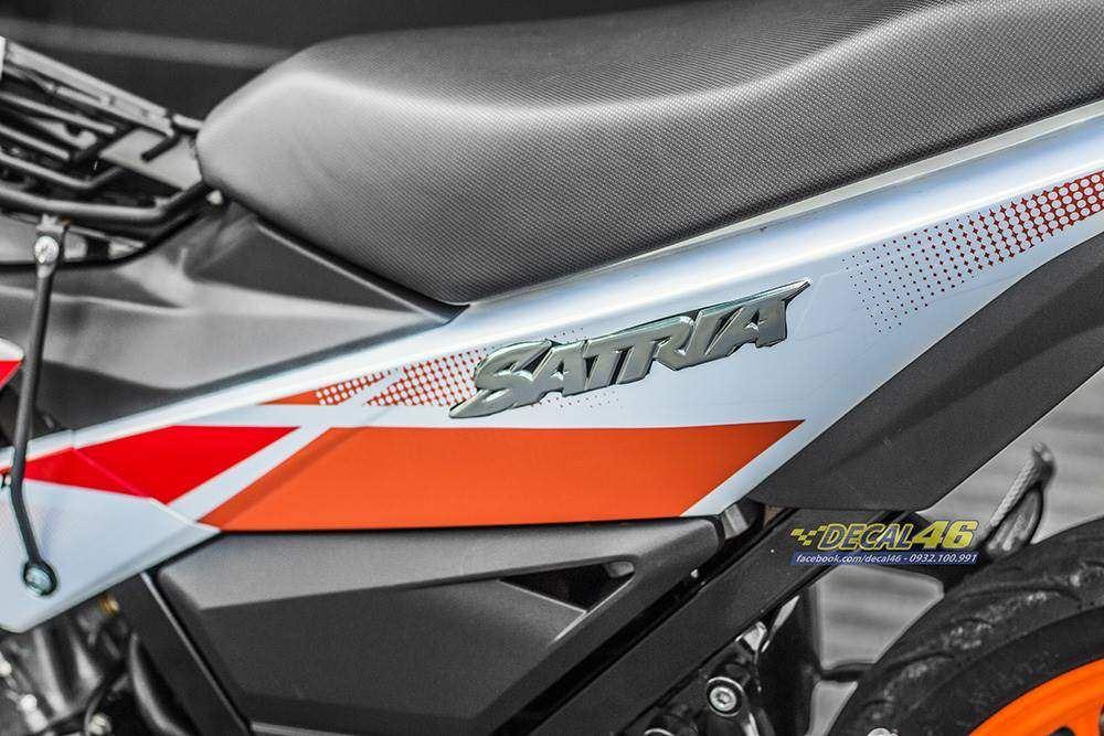 Tem xe Raider 150 - 045 - Tem xe thiết kế R150 Trắng ngọc trai zin Satria