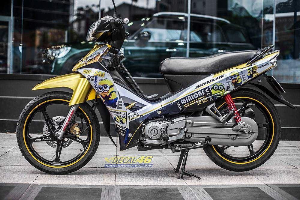 Tem xe Yamaha Sirius - 227 - Tem xe thiết kế Minion vàng candy