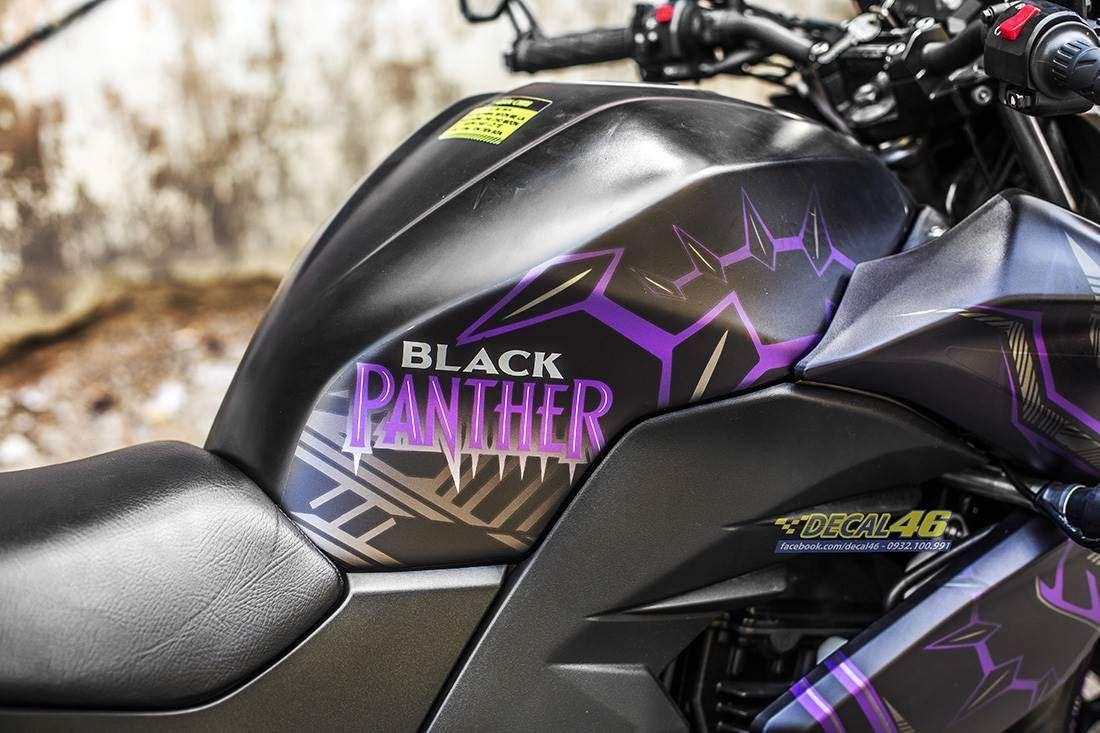Tem xe PKL - Tem xe Z300 thiết kế Black Panther nhôm đen tím