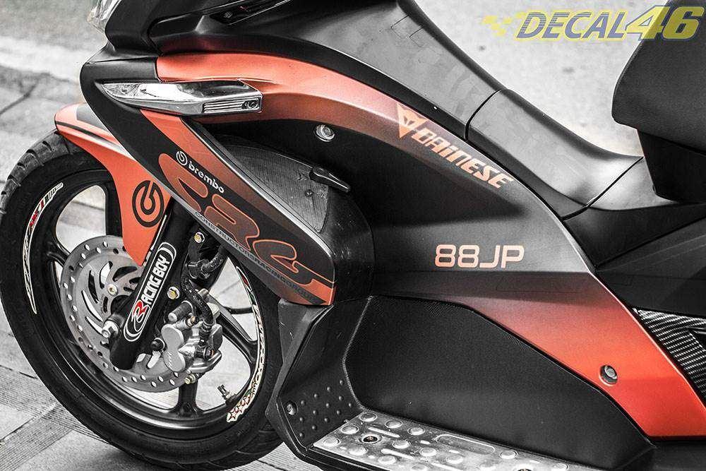 Tem xe Honda Airblade 2007 - 023 - Tem xe thiết kế CRG nhôm cam đen