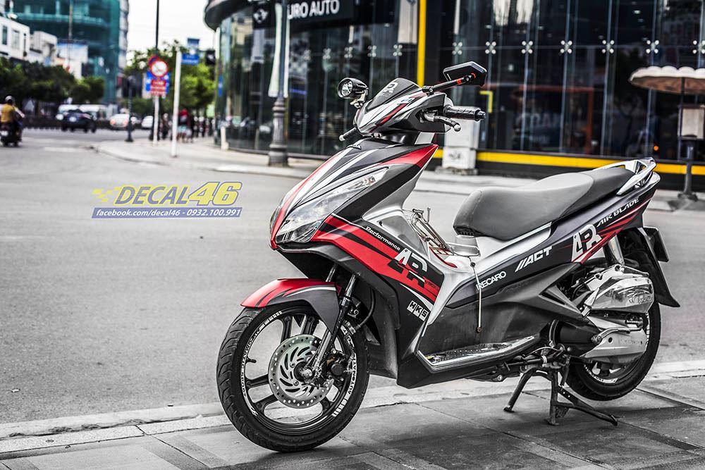Tem xe Honda Airblade 125 - 049 - Tem xe thiết kế Đỏ đen AR