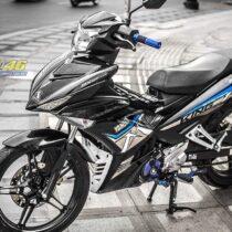 Tem xe Exciter 150 – 442 – Tem xe thiết kế MX King Indo chrome xanh đen