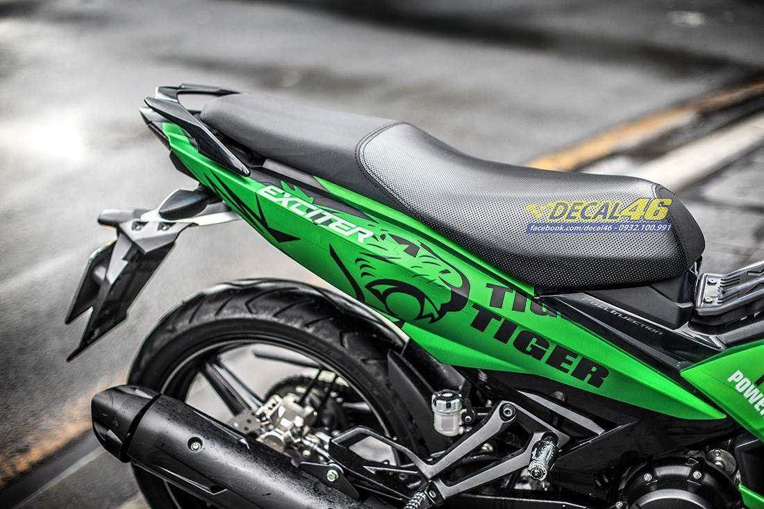 Tem xe Exciter 150 – 443 – Tem xe thiết kế Tiger nhôm xanh lá đen