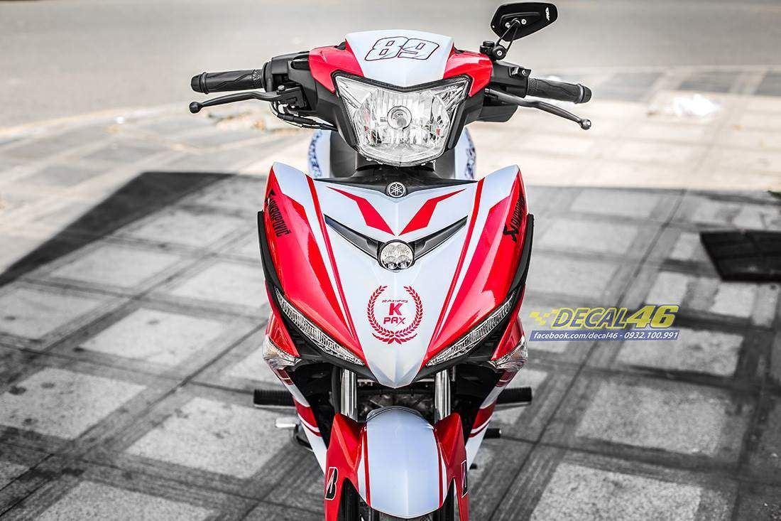 Tem xe Exciter 150 – 445 – Tem xe thiết kế Yamaha ngọc trai trắng đỏ