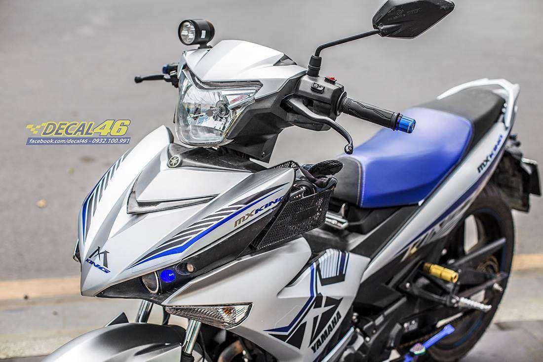 Tem xe Exciter 150 – 444 – Tem xe thiết kế MX King nhôm xanh bạc