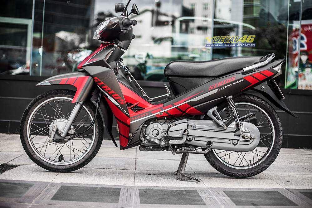 Tem xe Yamaha Sirius - 229 - Tem xe thiết kế Đen sọc đỏ nhôm