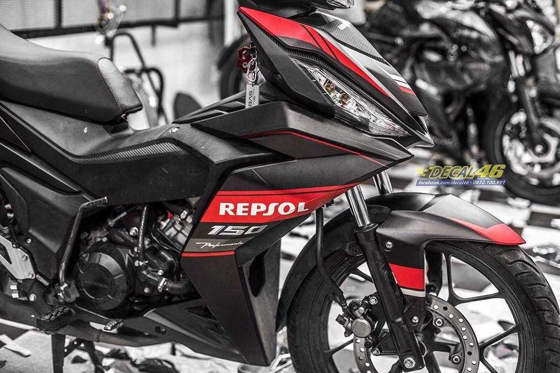 Tem xe Winner 150 - 329 - Tem xe thiết kế Repsol nhôm đen đỏ
