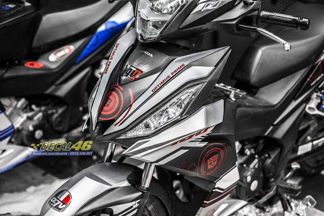 Tem xe Winner 150 - 330 - Tem xe thiết kế Transfomer nhôm đen trắng
