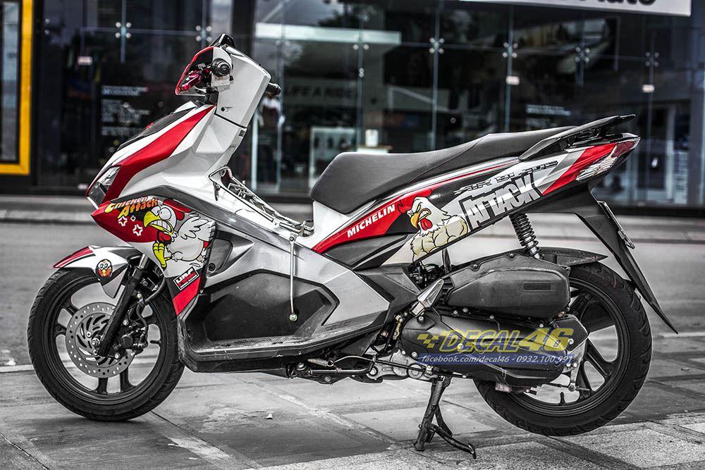 Tem xe Honda Airblade 2016 - 063 - Tem xe thiết kế Chicken đỏ trắng