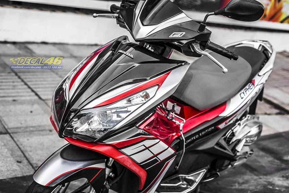Tem xe Honda Airblade 125 - 052 - Tem xe thiết kế Đỏ đen trắng nhôm