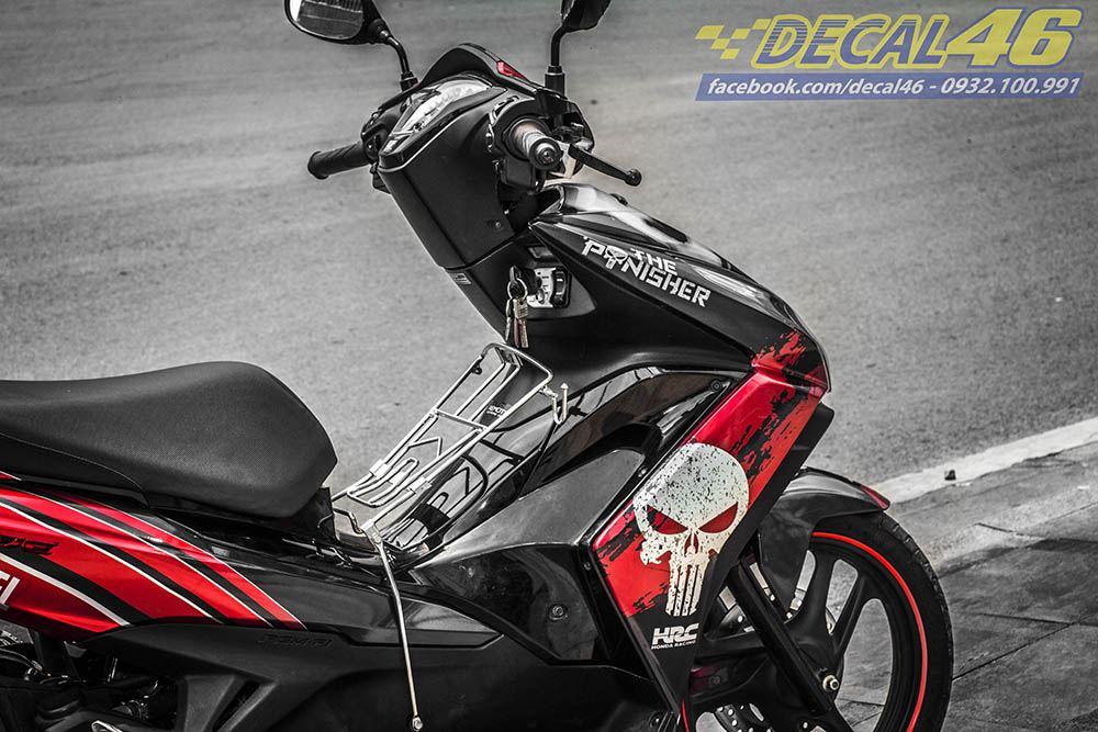 Tem xe Honda Airblade 125 - 053 - Tem xe thiết kế Marvel nhôm đen đỏ