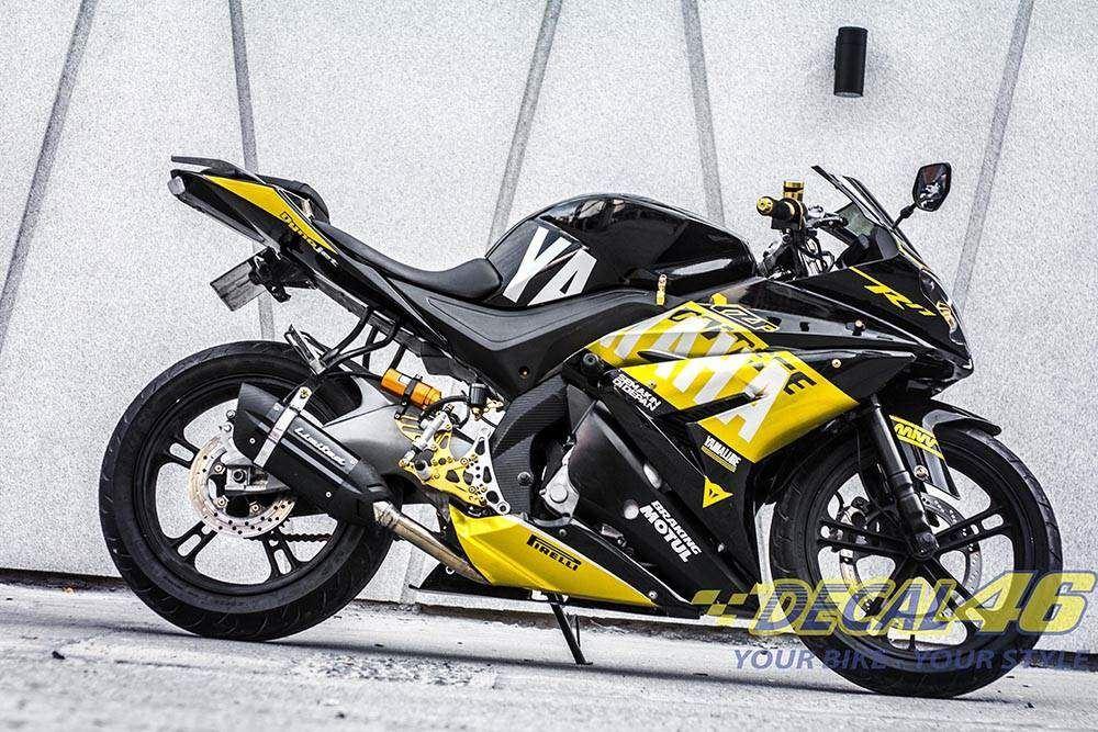 Tem xe PKL - Tem xe R125 thiết kế Yamaha vàng đen
