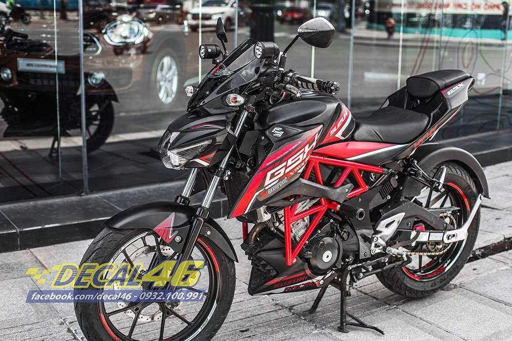 Tem xe GSX S150 - Tem xe thiết kế Electric nhôm đỏ đen