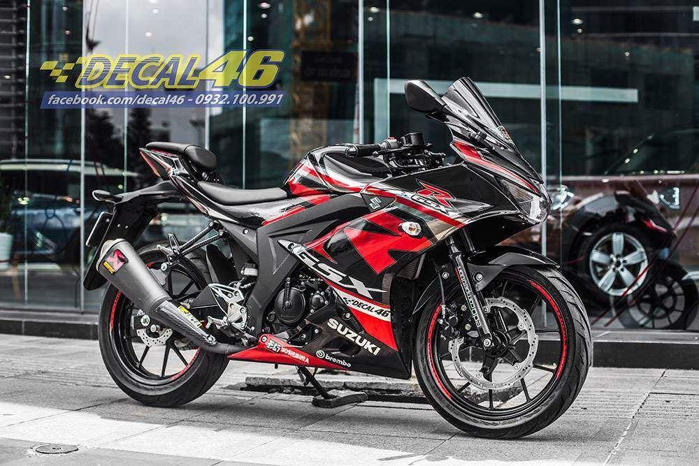Tem xe GSX R150 - Tem xe thiết kế Chrome R đỏ đen