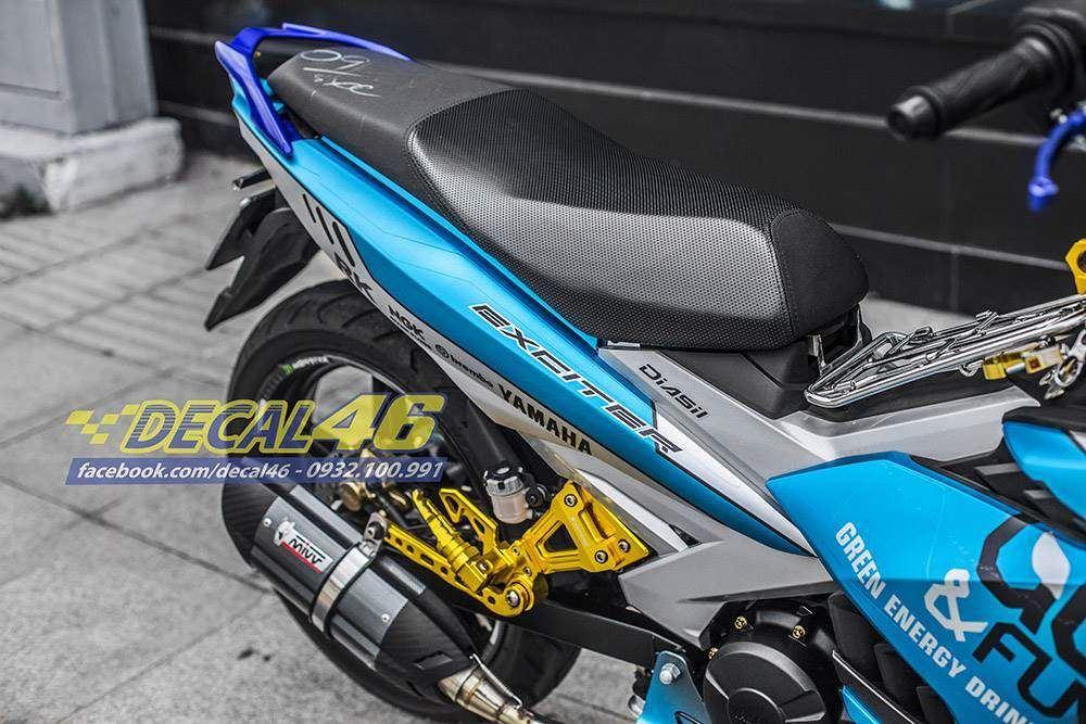 Tem xe Exciter 150 – 453 – Tem xe thiết kế Go&Fun nhôm xanh bạc