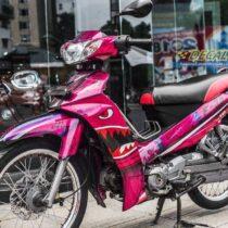 Tem xe Sirius - Tem xe Sirius thiết kế kiểu Shark hồng candy
