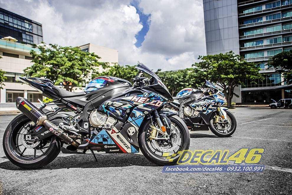 Tem xe PKL - Tem xe BMW S1000RR thiết kế Bao Hello xanh trắng