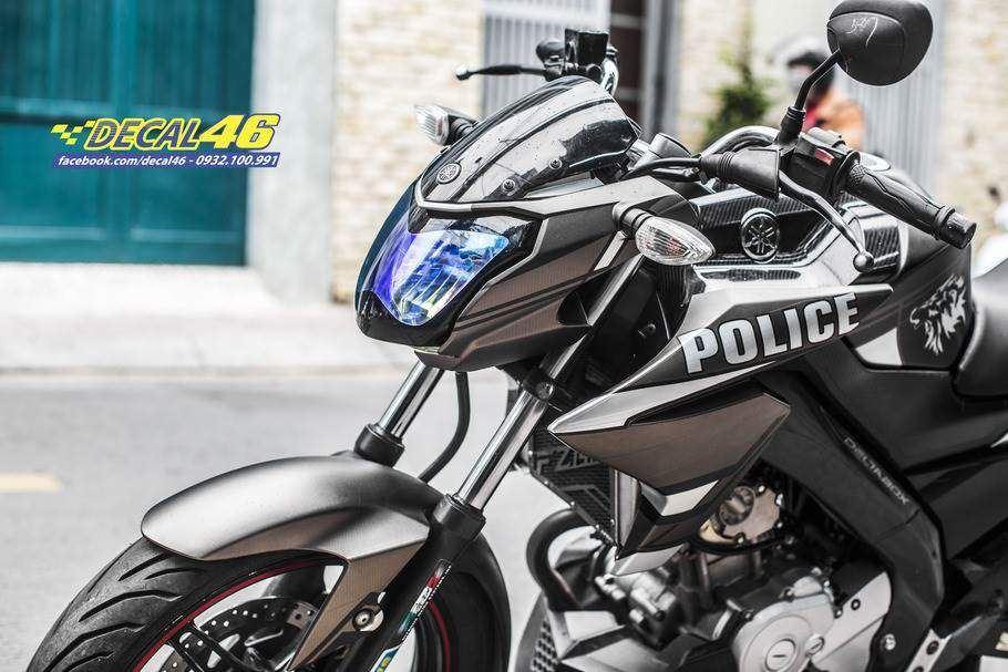 Tem xe FZ150i - Tem xe thiết kế nhôm Police