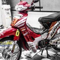 Tem xe Honda Wave - 017 - Tem xe thiết kế Repsol đỏ candy