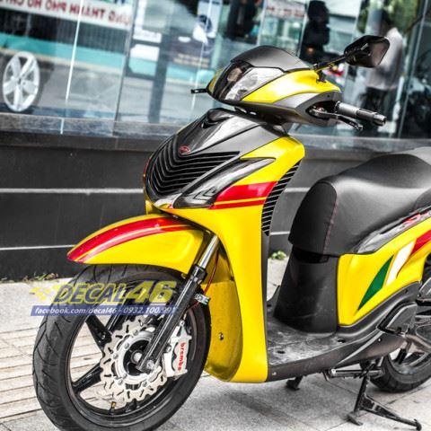 Tem xe Honda SH 150i - Tem xe thiết kế candy vàng
