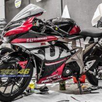 Tem xe GSX R150 - Tem xe thiết kế Suzuki candy đen đỏ