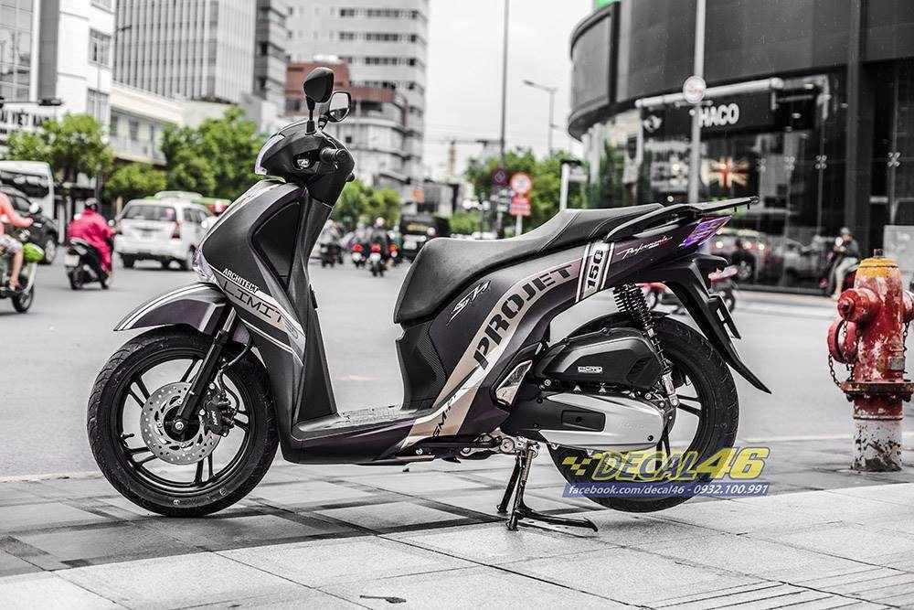 Tem xe Honda SH - Tem xe thiết kế Project nhôm xước
